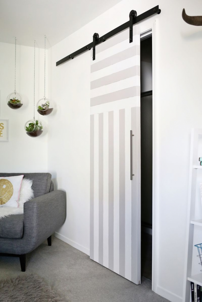 Here are some solutions for sliding doors for small spaces, thanks to A Beautiful Mess.
