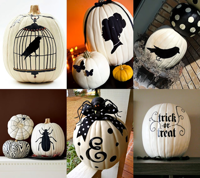 Classy white painted pumpkins