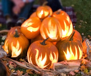 Flaming pumpkins for Halloween