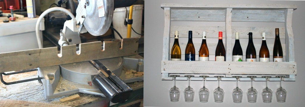 Pallet Wine Rack: before & after