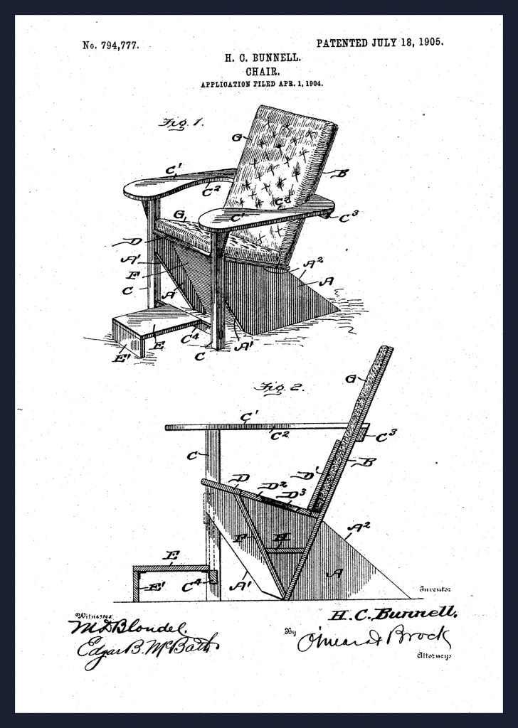 "Harry C. Bunnell patents the ""Westport"" chair in July of 1905"