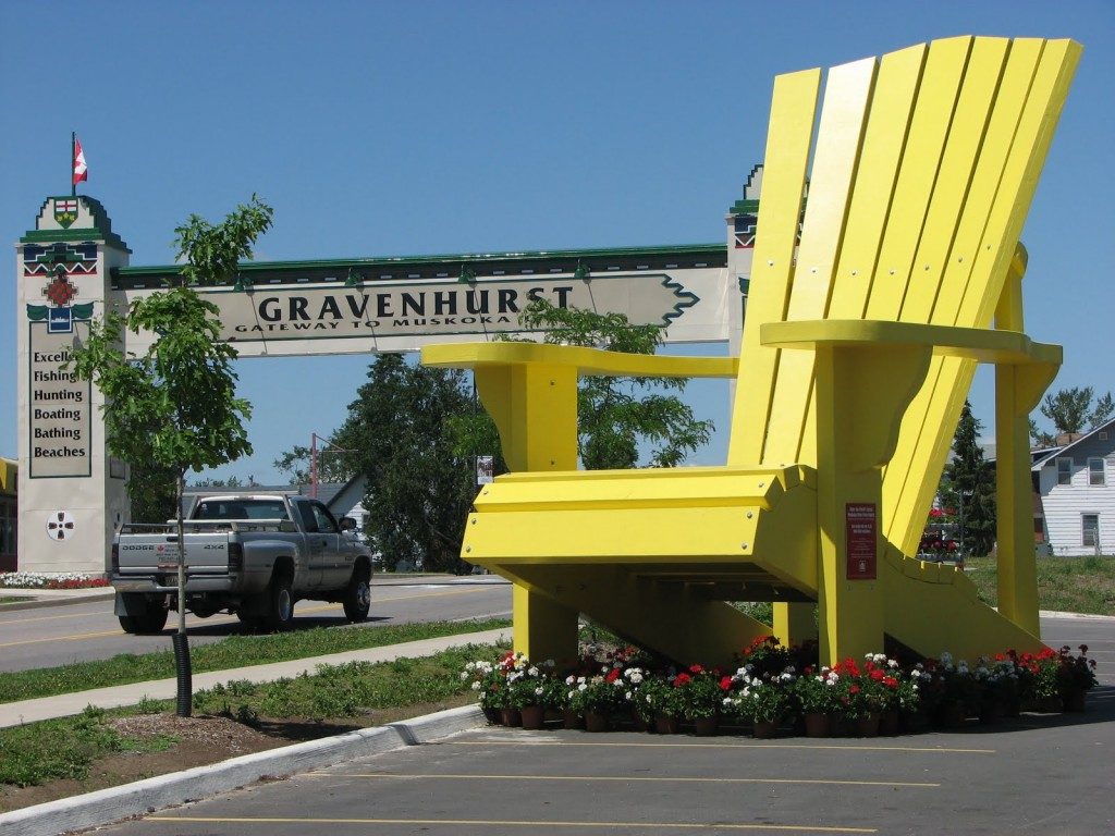 "Gravenhurst Ont is home to the ""World's Largest Muskoka Chair"" measuring 21' high and 16' wide."