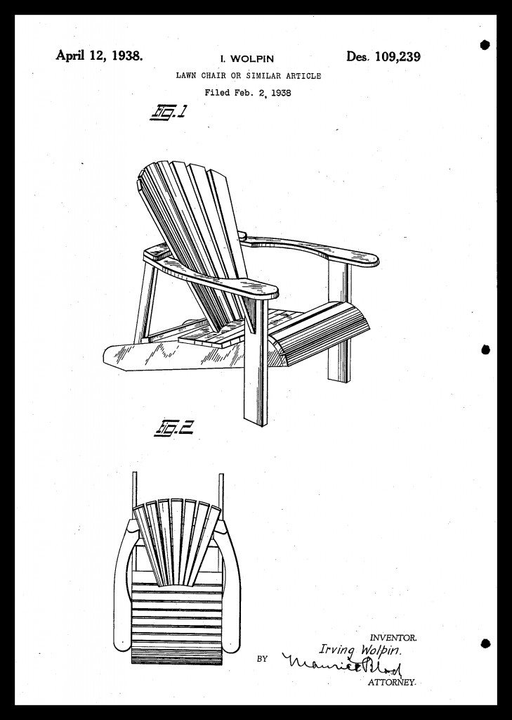 Irving Wolpin patented an Adirondack chair with a rounded back and contoured seat in 1938, a similar design to the chairs we enjoy today.