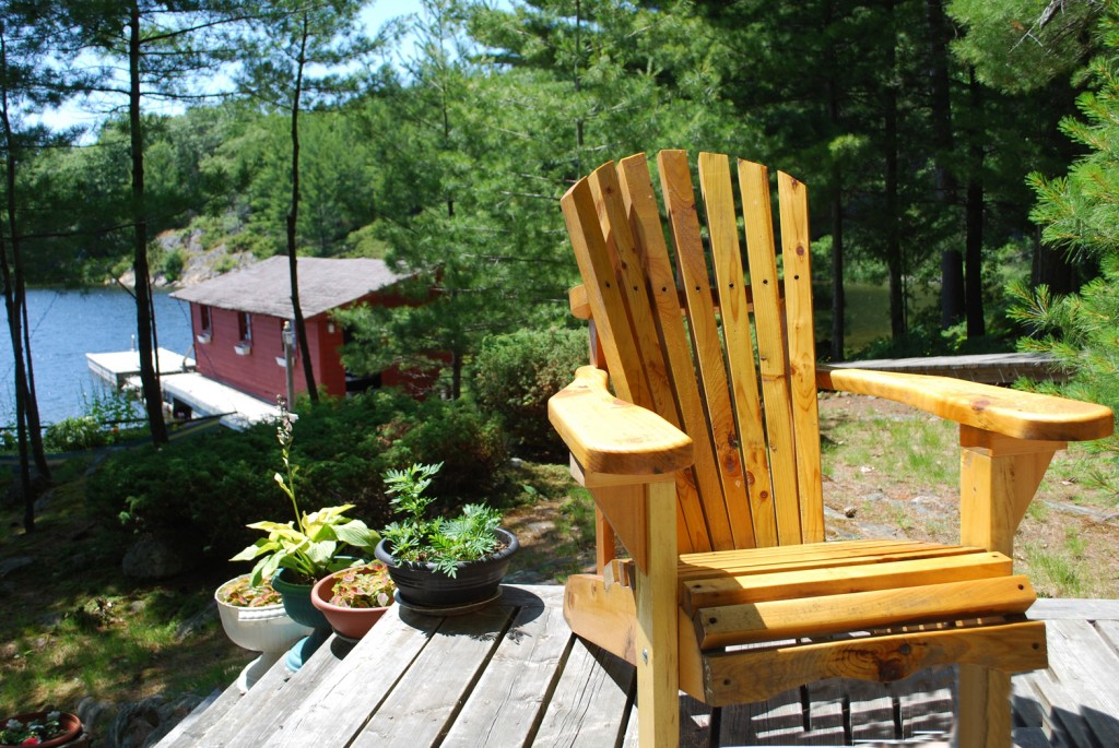 My own Muskoka chair, right where it belongs at the cottage!