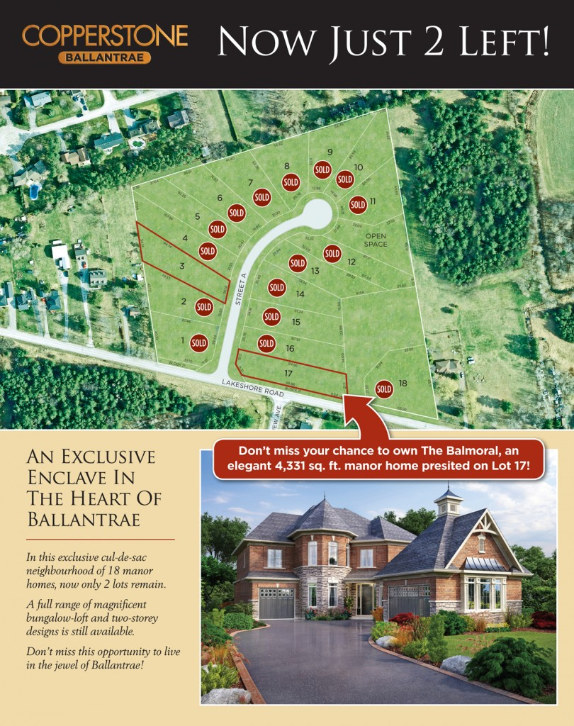 Only two lots remain in Copperstone, Ballantrae ON