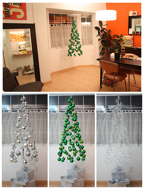 Christmas tree mobile is simply ornaments suspended on clear threads