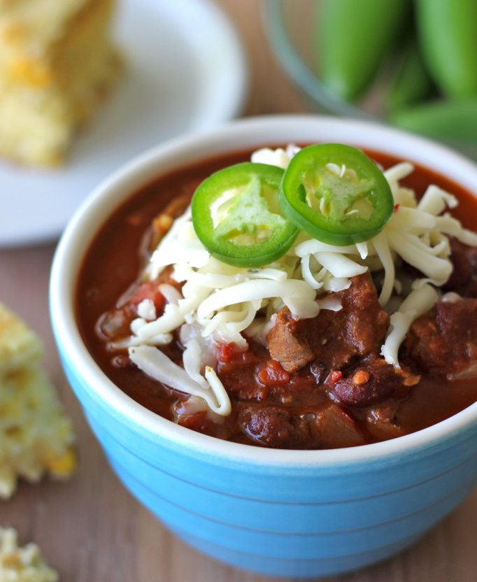 Steak Chili recipe replaces ground beef with stewing meat