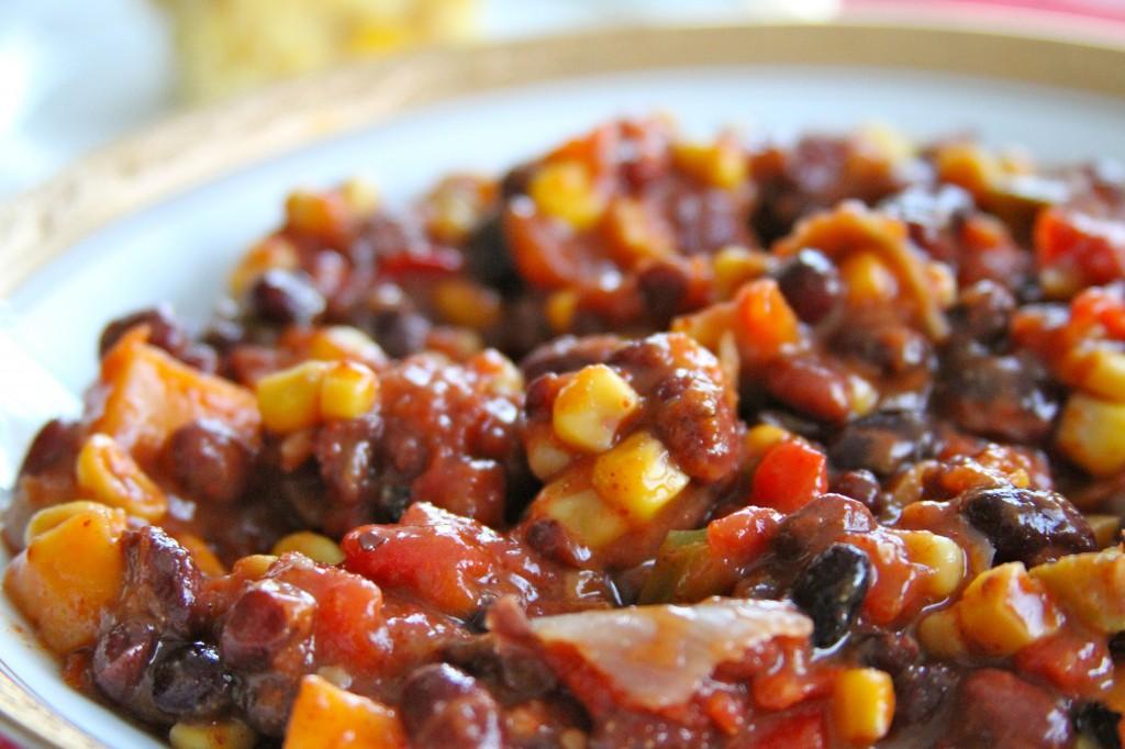 Vegetarian Chili with double cornbread recipe