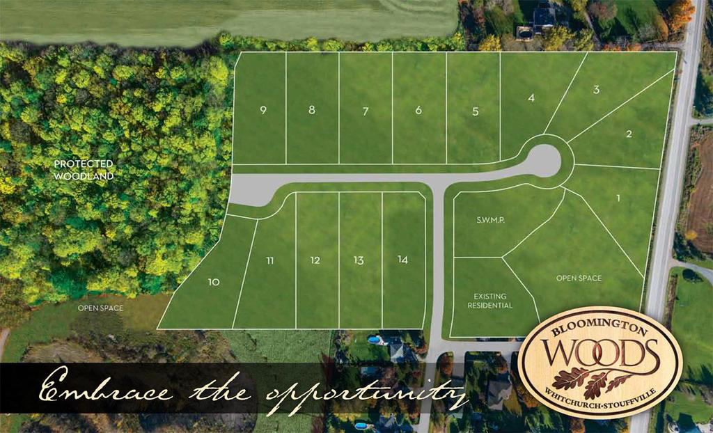 Exclusive enclave community of 14 manor homes on 3/4 acre country lots