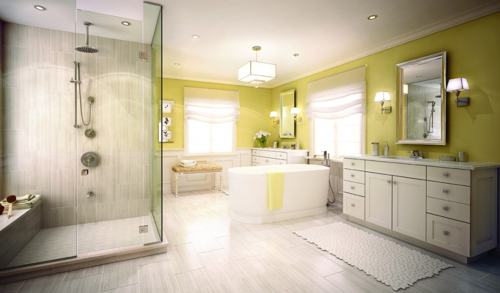 The separate soaker tub and enclosed glass shower add the allure of this master ensuite