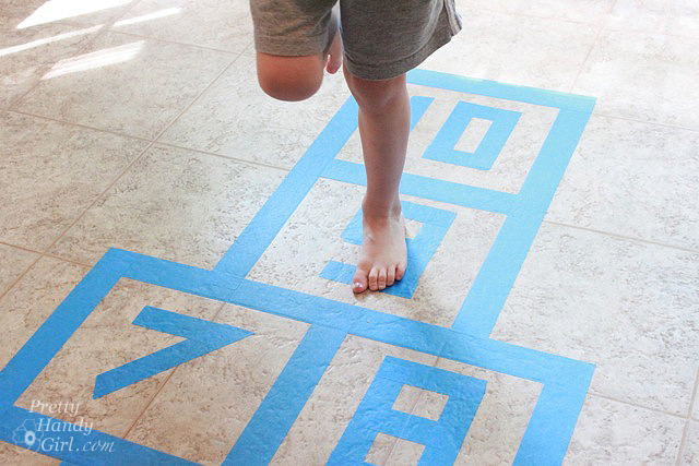 No need to worry about the weather when you can play hopscotch inside.