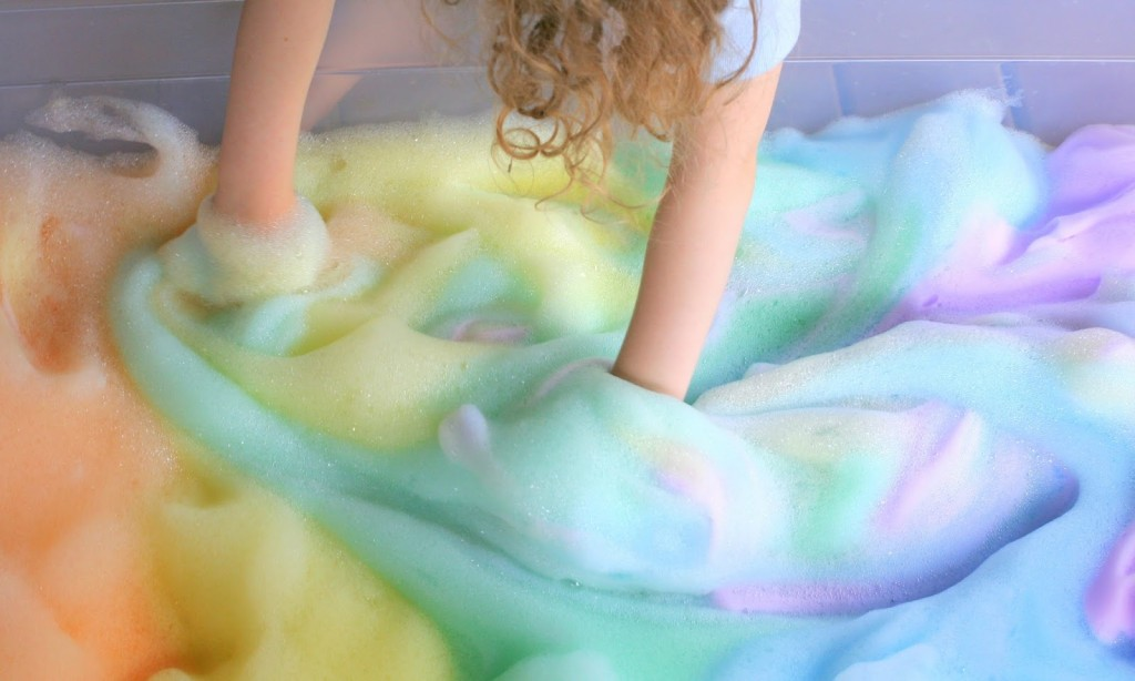 Rainbow soap bubbles give new meaning to good, clean fun!