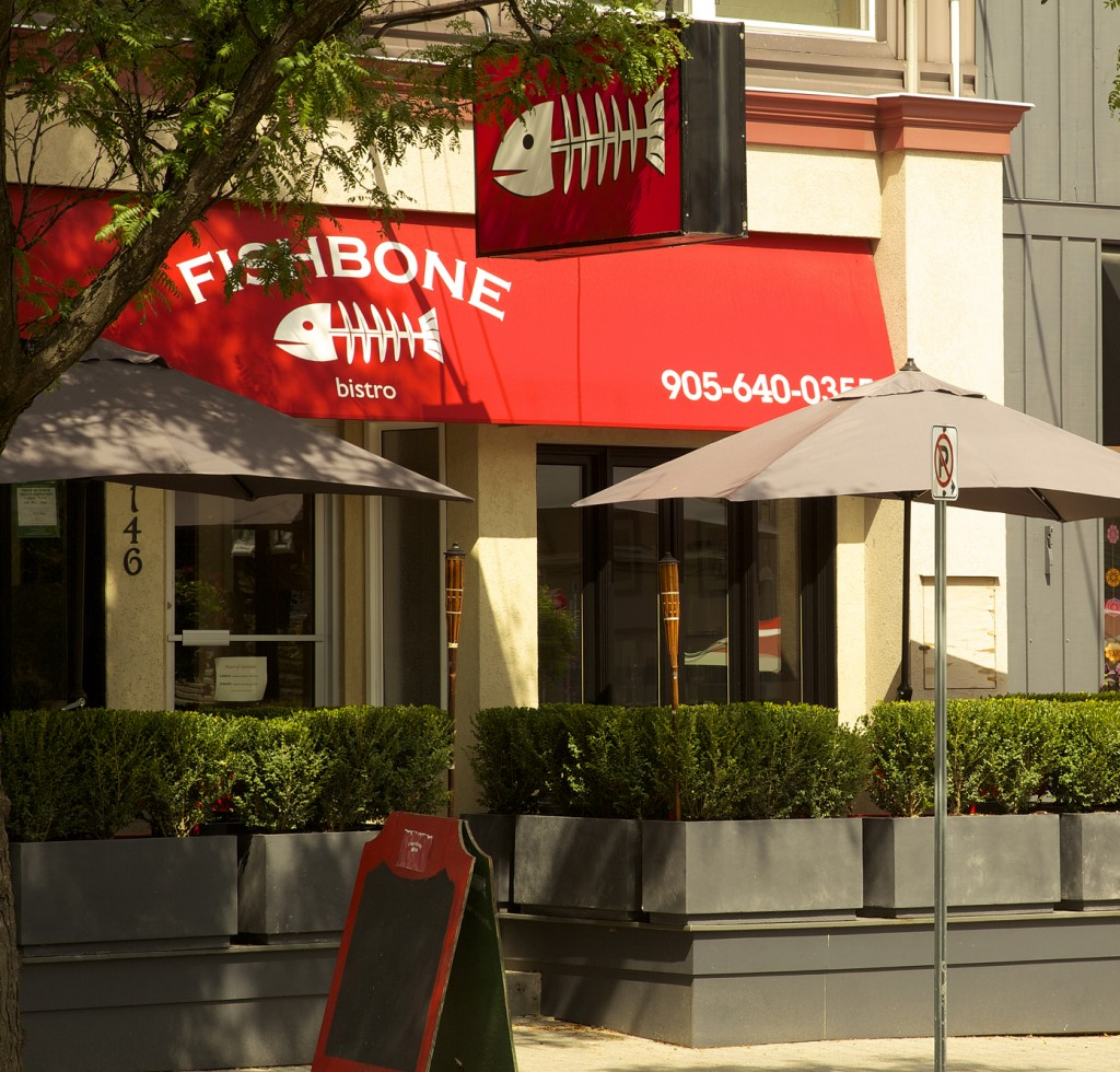 Fishbone Bistro is easy to find with their bright red awning
