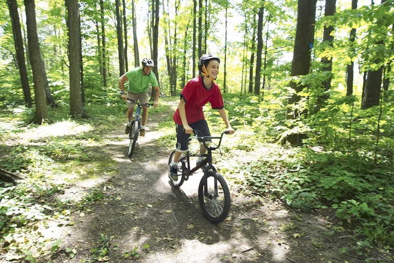 Stouffville is developing an extensive trail system, many trails connecting to the large forested areas in York Region.