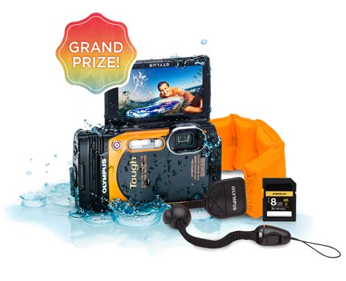 Grand Prize is an Olympus Waterproof Camera Adventure Pack