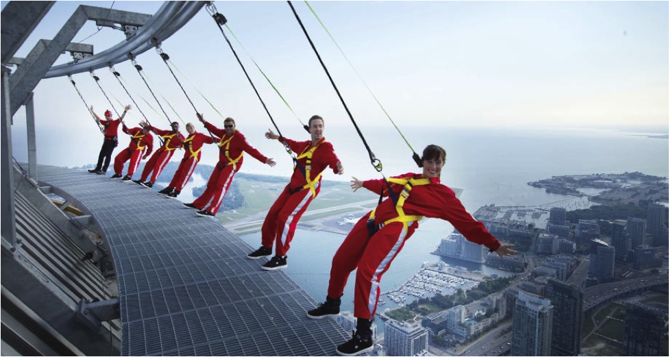 CN Tower's EdgeWalk is the world's highest full circle hands-free walk.