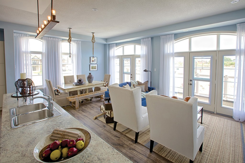 Serenity Blue brightens the living room at Uptownes in Stouffville.