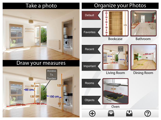 Photo Measures keeps your room and furniture measurements at your fingertips.