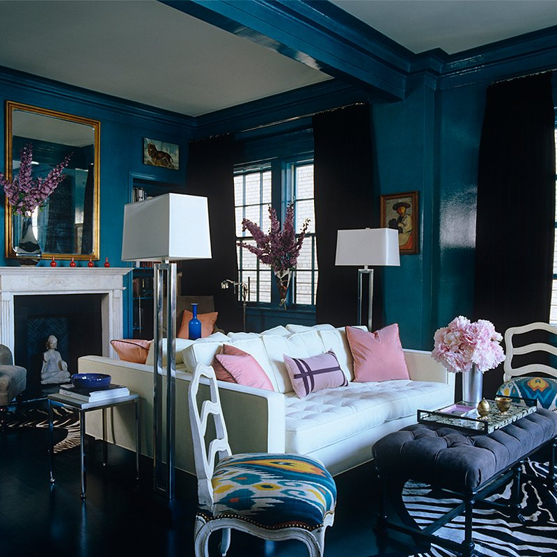 Sapphire walls dazzle in this photo from The Interior Archive.