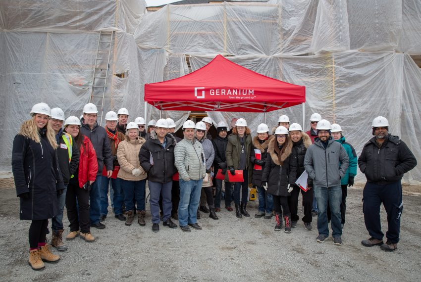 A group photo at recent Hard Hat Tour at Allegro Aurora.